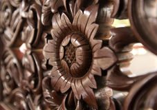Wood carving of flower pattern. Stock Photography