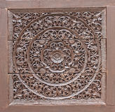 Wood Carving in Flower and Vine Plant Pattern Royalty Free Stock Photography