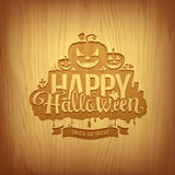 Wood carving happy halloween design Stock Photography