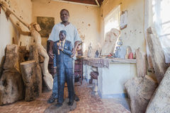 Sculptor Mandela Carving Stock Images