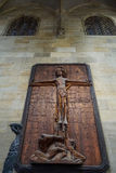 Wood carving of Jesus Christ on cross Royalty Free Stock Photo