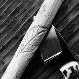 Wood carving and knife Royalty Free Stock Images