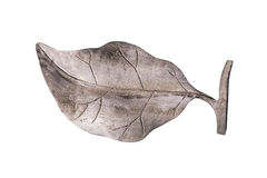 Wood carving of leaf, isolated with clipping paths on white background. Royalty Free Stock Photos