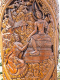 Wood carving about legend of buddha Royalty Free Stock Photos
