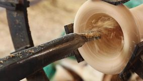 Wood carving machine motion. Wood carving rotate machine motion stock video footage
