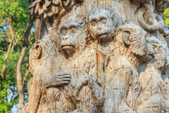 Wood carving of monkey at zoo Royalty Free Stock Photos