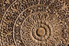 The wood carving. Patterned beauty of wood carving royalty free stock photos