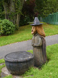 A wood carving of a Pendle Witch Stock Photography