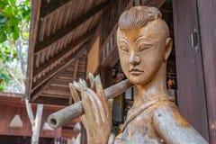 Wooden handicrafts, musicians stock photos
