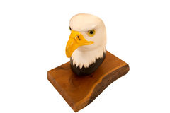 Wood carving of raptor head Royalty Free Stock Photos
