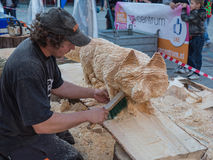 Wood carving at Sculpture Festival Royalty Free Stock Photography