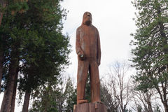 Wood carving and sculpture of Sasquatch / Bigfoot Royalty Free Stock Photography