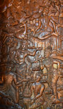 Wood-carving. Section of an ancient mural Thailand wood carving in temple royalty free stock image