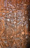 Wood-carving. Section of an ancient mural Thailand wood carving in temple royalty free stock photo