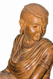 Wood carving statue female beauty Stock Photography