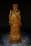 Wood Carving Statue of Prosperity Money God Stock Image