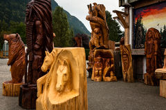 Wood Carving Statues Stock Photos