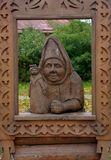 Wood Carving in Suzdal Town stock photography