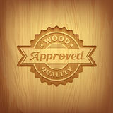 Wood carving text approved design Royalty Free Stock Image