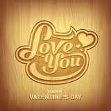 Wood carving text love you for valentine day Royalty Free Stock Photo