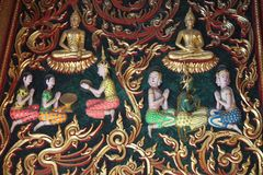 Wood carving Thai Buddha story art Stock Photography