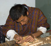 Wood carving, Thimphu, bhutan Stock Photos