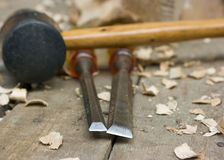 Wood carving tools. On the workbench Royalty Free Stock Photography