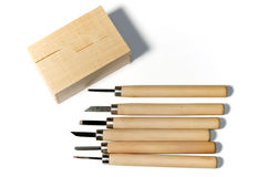 Wood carving tools with basswood Stock Photo