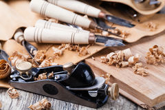 Wood carving tools. Close up photo Stock Images