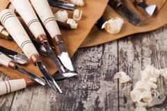 Wood carving tools Stock Image