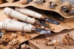 Wood carving tools. Set of tools for wood carving Royalty Free Stock Photos
