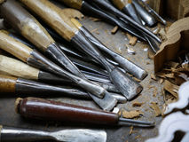 Wood carving tools. Set of wood carving tools, Carpenter wood chisel tool Stock Photography