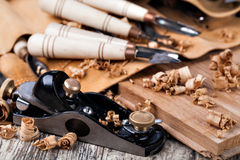 Wood carving tools. On a wooden Stock Photography