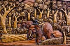 Wood Carving of Working Elephant Royalty Free Stock Photo