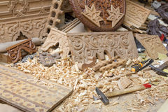 Wood carving workplace in Morocco Royalty Free Stock Photos