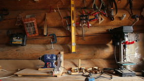 Wood carving workshop, HD stock video