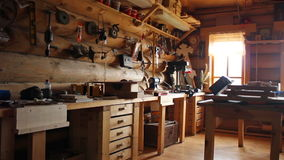 Wood carving workshop, wide angle, HD. stock video footage