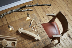 Wood carving workspace creative hobby wood and modern design Royalty Free Stock Photo