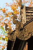 Wood carvings adorn the roof. Royalty Free Stock Images