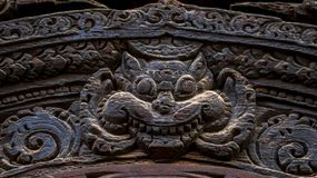Wood carvings of Hindu Gods. On the temple in Bhaktapur Durbar Square stock photography