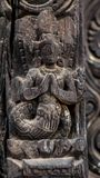 Wood carvings of Hindu Gods. On the temple in Bhaktapur Durbar Square stock images