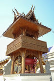 Wood carvings tower big drum. Wooden tower big drum northern style in Thailand, Thai patterns wood carvings royalty free stock images