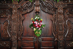 Wood carvings on the wall Royalty Free Stock Photo