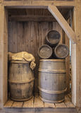 Wood cask barrels. Five wood cask barrel of different sizes Royalty Free Stock Photo
