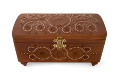 Wood casket. With decoration on white background Stock Images