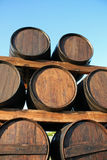 Wood casks. Wine wood casks in blue sky Royalty Free Stock Photography