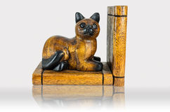 Wood cat carving bookmark Stock Photo