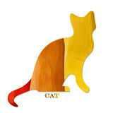 Wood cat. Colored cat of wood and writing Royalty Free Stock Image