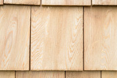 Wood cedar shingles for roof or wall Stock Photo
