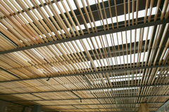 Wood ceiling lath Stock Photos
